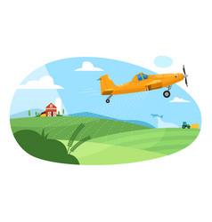 Crop duster flying aircraft plane spraying farm vector