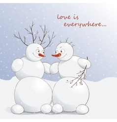 Cute amorous snowmen under vector