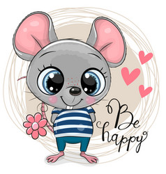 Cute cartoon mouse with flowers vector