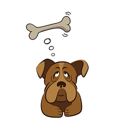 Cute dog thinking about bone vector image