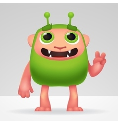 Cute green alien invader with silly smile and vector image