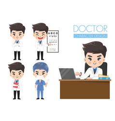 Doctors in various gestures in uniform vector