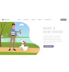 Dog shelter landing page template pet vector