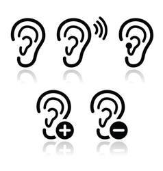 Ear hearing aid deaf problem icons set vector