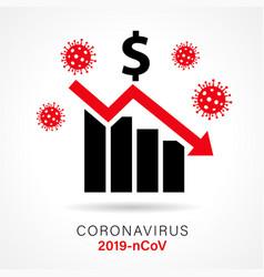 Economic growth down icon dollar coronavirus vector