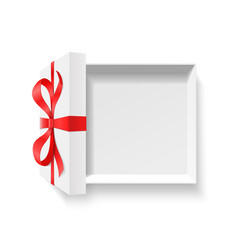 Empty open gift box with red color bow knot and vector