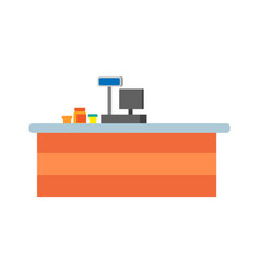 empty seller counter and desktop of cashier vector image