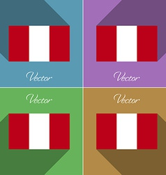 Flags Peru Set of colors flat design and long vector image