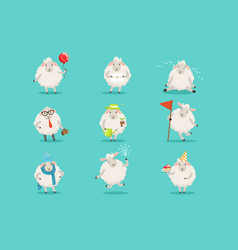 Funny cute little sheep cartoon characters set for vector