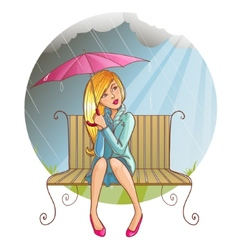 Girl with umbrella sitting on the bench at rain vector