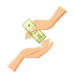 giving money from one hand to another icon vector image