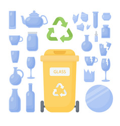 glass waste sorting flat icon set vector image