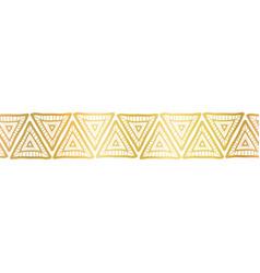 golden triangles seamless border gold foil vector image