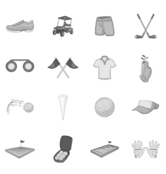 Golf icons set gray monochrome style vector