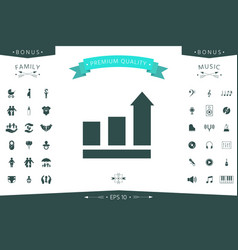 growing bars graphic with rising arrow icon vector image