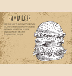 Hamburger poster and skecth vector