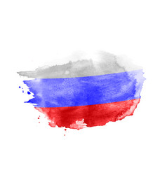 Hand drawn watercolor brush paint russian flag vector