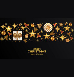 holiday new year card - 2019 on black background 2 vector image