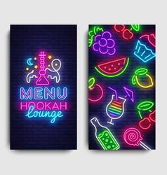 Hookah lounge menu design template hookah vector