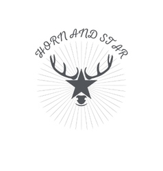 Horn and a star or deer s head poster badge with vector image