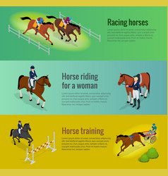Isometric web equestrian horizontal banners with vector