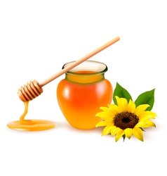 Jar of honey and a dipstick with yellow flower vector