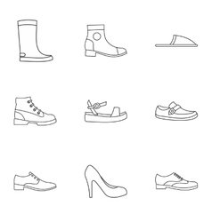 Kind of shoes icons set outline style vector image
