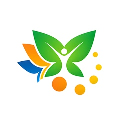 leaf vegetarian people spa logo vector image