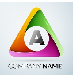 Letter A logo symbol in the colorful triangle vector