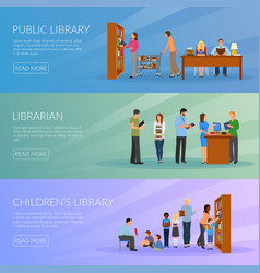 Library banners set vector