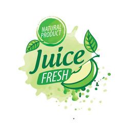 Logo splashes green apple juice on white vector