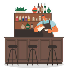 Male barista making coffee in coffeehouse vector