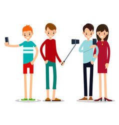 man and woman do selfie friends do joint vector image