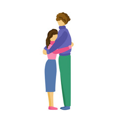 Man and woman hugging couple stands and hugs vector