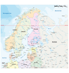 Map northern europe with major cities vector