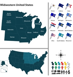 Map of Midwestern United States vector
