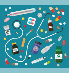 medicines in pills or syrups and stethoscope set vector image