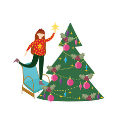 Merry christmas woman on chair decorating tree vector