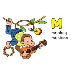 Monkey musician animals profession abc alphabet m vector