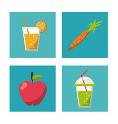 Multicolored square buttons set of healthy fruits vector
