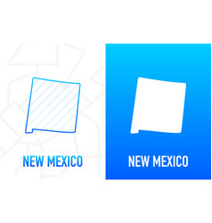 New mexico - us state contour line in white vector