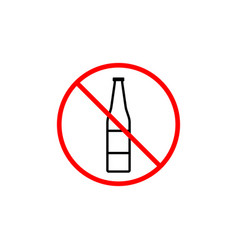 no alcohol line icon prohibition sign forbidden vector image