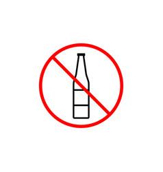No alcohol line icon prohibition sign forbidden vector