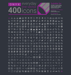 Onyx is a set of 400 everyday line icons vector