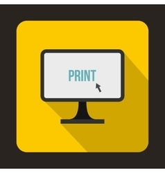 Print word on a computer monitor icon flat style vector
