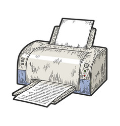 printer printing sketch vector image