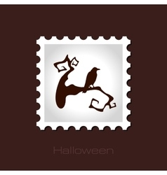Raven on a branch halloween stamp vector image