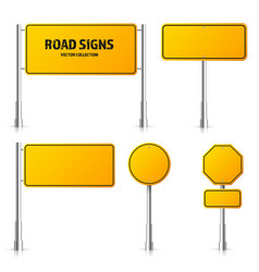 road yellow traffic signs set blank board vector image