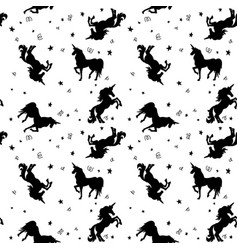 seamless pattern with unicorns and stars design vector image