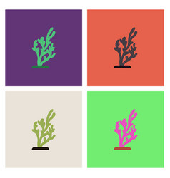 Seaweed icon collection vector